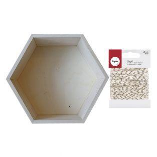 Etagère hexagone bois 27 x 23,5 cm +...