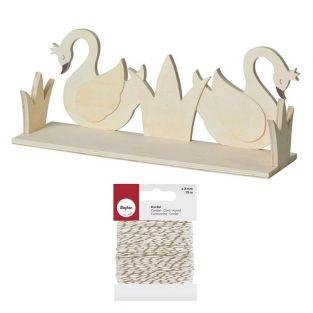 Wooden shelf 2 swans to customize 40...