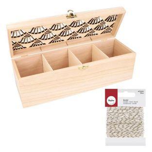 Teebox aus Holz zum Gestalten 30 x 10...
