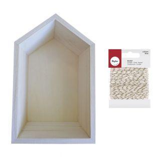 Etagère bois maison 22,5 x 14 cm +...