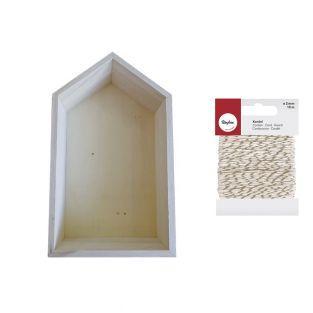 Etagère bois maison 30,5 x 18 cm +...