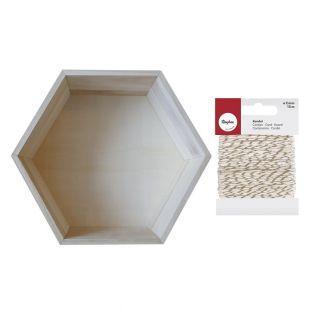 Etagère hexagone bois 30 x 26,5 cm +...