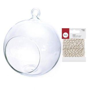 Open glass ball 12 cm + golden &...
