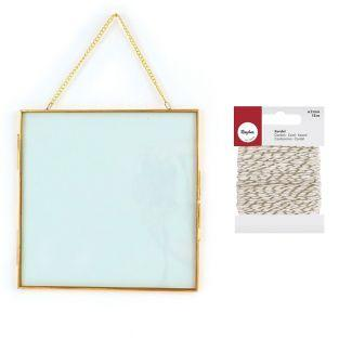 Vintage glass frame square with metal...