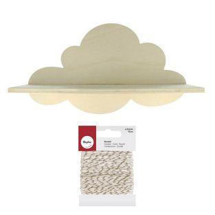 Holzregal Wolke 39 cm + Weiß-Golden...