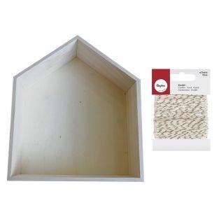 Wooden shelf house 35 x 30 x 10 cm +...