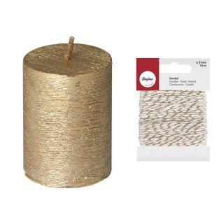 Bougie cylindrique dorée Ø 3,8 x 5 cm...