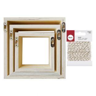 3 étagères carrées bois 22 x 22 x 8...