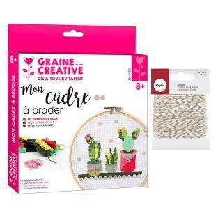 Embroidery hoops kit Ø 15,5 cm Cactus...