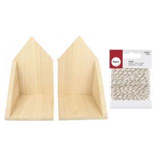2 étagères d'angle en bois 22 x 16 cm...