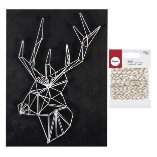 Quadro nero String Art Cervo 22 x 22...