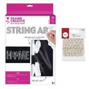Quadro nero String Art Home 22 x 22...