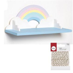 Rainbow wooden shelf 40 cm + golden &...