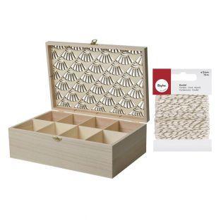 Boîte à bijoux bois brut 30 x 20 x 10...