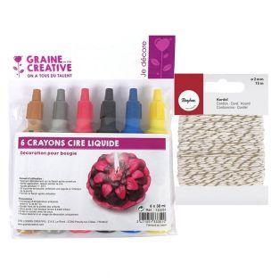 6 crayons cire liquide pour bougie +...