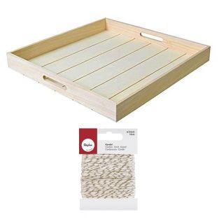 Plateau carré en bois 45 x 45 cm +...