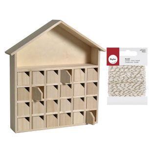 Calendario de Adviento de madera Casa...