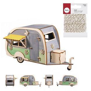 Maquette 3D en bois Caravane 36 x 15...