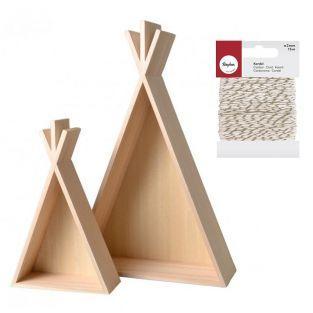 2 étagères bois Tipi 45 et 26 cm +...