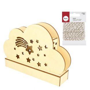 Wooden cloud DIY Lamp 25 x 13.7 cm +...
