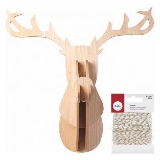 Cabeza de Reno de madera MDF 60 x 50...