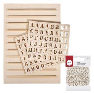 Wooden Letterboard 30 x 42 cm + 96...