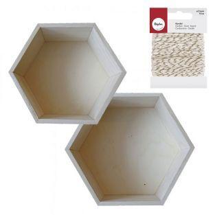 2 étagères hexagonales bois 24 cm et...