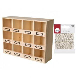 12-slot wooden storage shelf + golden...