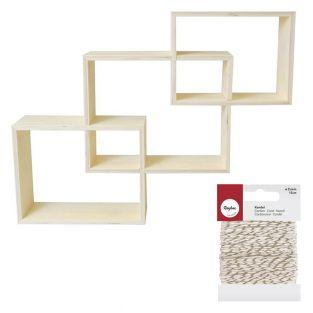 3 nested wooden shelves + golden &...