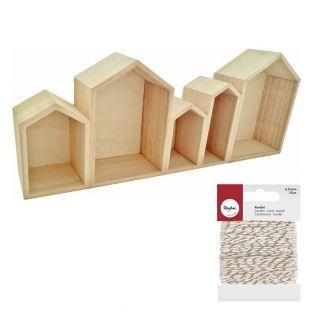 Etagère bois 5 maisons 50 x 20 cm +...