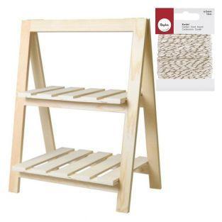 Etagère bois 2 niveaux 25 x 41 x 51...