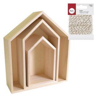 3 Holzregale Haus + Weiß-Golden...