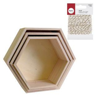 3 wood shelves Hexagone + golden &...