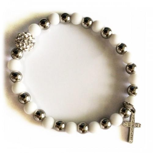 Bracelet perles blanc-argenté - Boule et Croix en cristaux