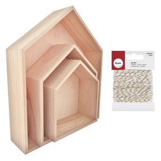 3 estantes de madera Casa 35 x 30 cm...