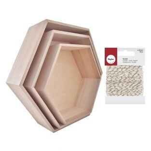 3 hexagonal wood shelves + golden &...