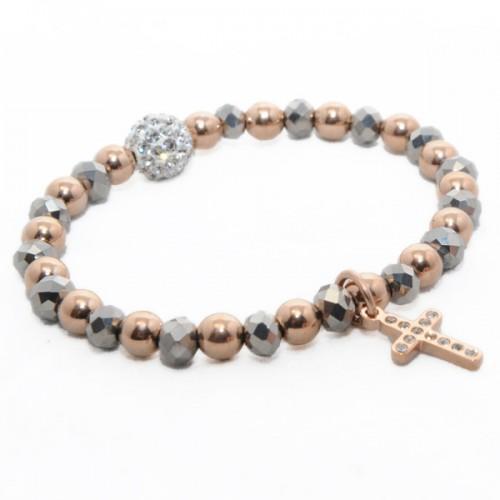 Bracelet perles dorées-argentées - Boule et Croix en cristaux