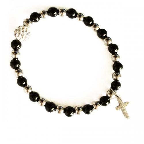 Bracelet perles noires-argenté - Boule et Croix en cristaux