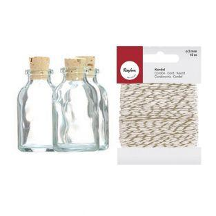 105 mini glass bottles 6 cm with cork...