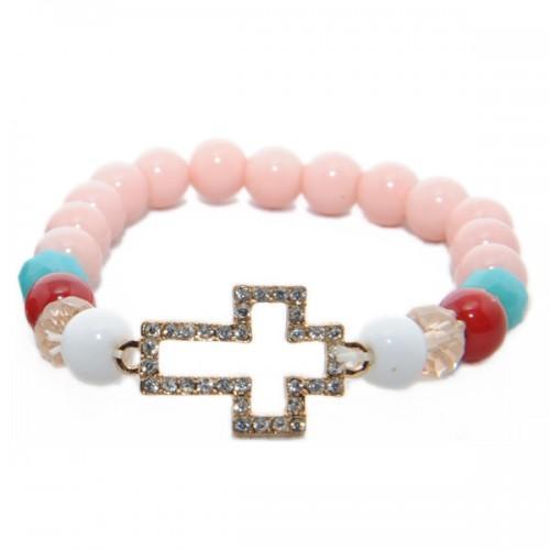 Bracelet perles rose nacré - Croix dorée à cristaux