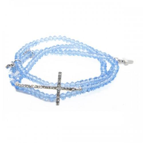 Bracelet cristaux bleus avec Croix