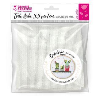 Aida fabric 5.5 points / cm white 35...