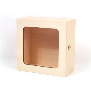 Holzkiste mit Fenster 21 x 21 x 10 cm