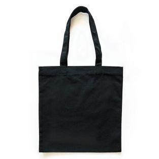 Sac shopping en coton noir 37,5 x 42 cm