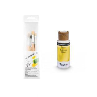 Golden metal acrylic paint 59 ml + 3...