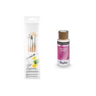 Rosa Metall Acrylfarbe 59 ml + 3 Pinsel