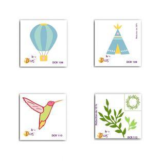 4 mini cutting dies 5 x 5 cm - Tipi,...