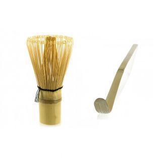 2 utensili da tè matcha in bambù