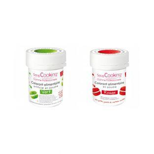 2 powdered food colorings - green-red