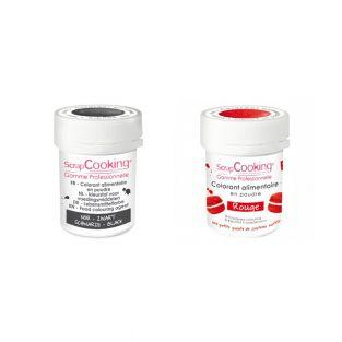 2 powdered food colorings - red-black